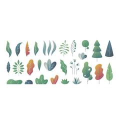 Flat minimal leaves fantasy colors gradation vector