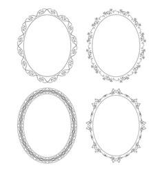 Floral ornament on decorative oval frames - set vector