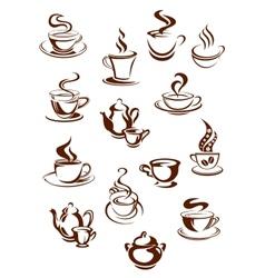 Fragrant coffee in retro style icon set vector