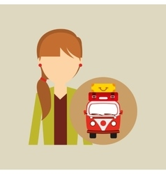 Girl tail hairstyle vintage van camper suitcases vector
