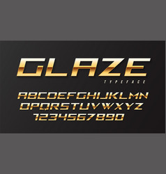 Glaze shiny golden display font design alphabet vector