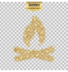 Gold glitter icon of bonfire isolated on vector