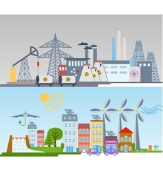 green ecology city infographics background vector image