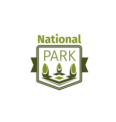 Green trees icon for national park vector