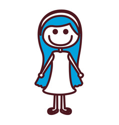 hand drawing silhouette blue long hair girl with vector image