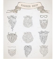 hand-drawn beards set vector image