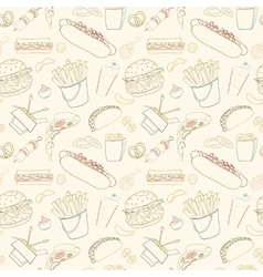 Hand-drawn seamless fast food pattern vector