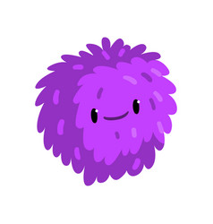happy cartoon fluffy monster character vector image