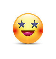 Happy laughing emoji face with eyes in the form vector