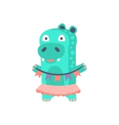 Hippo With Party Attributes Girly Stylized Funky vector