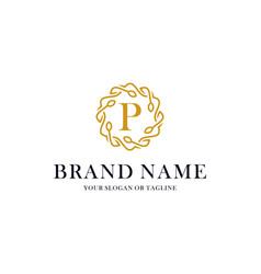 Initial letter p luxury ornament logo design vector