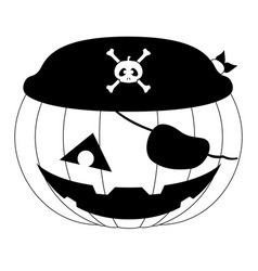 isolated pirate halloween pumpkin icon vector image