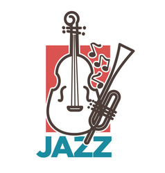 jazz promo poster with classic musical instruments vector image