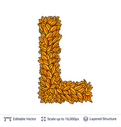 letter l sign of autumn leaves vector image