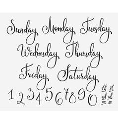 Lettering week days set vector