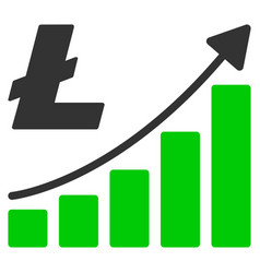 litecoin growth trend flat icon vector image