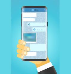 man holding modern smartphone modern smartphone vector image