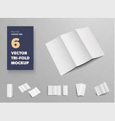 mockup tri-fold white open and closed vector image
