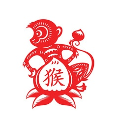 Monkey Lunar year symbol vector image