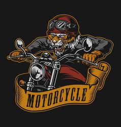 Motorcycle vintage colorful label vector