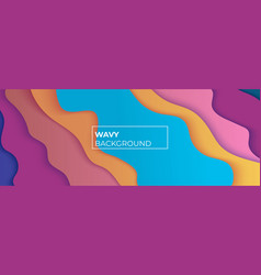 Multicolored wavy background with overlap layers vector