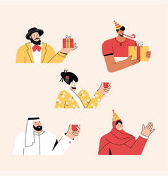 multicultural people celebrating holiday vector image