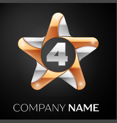 Number four logo symbol in the colorful star on vector