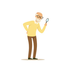 Old male character weak eyesight colourful toon vector