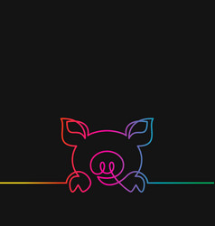 one line drawing pig rainbow colors on black vector image