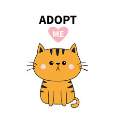 orange cat silhouette adopt me pink heart pet vector image