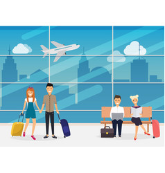 people sitting and walking in airport terminal vector image