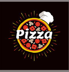 Pizza restaurant promotional emblem with chef hat vector