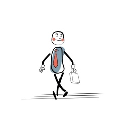 Positive businessman goes to work vector