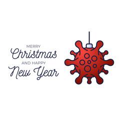 Red christmas ball and quarantine coronavirus vector