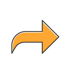 Right orange curved arrow color icon direction vector