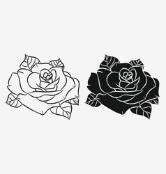 rose flower silhouette and outline vector image