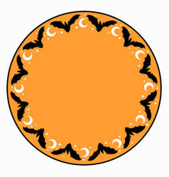 round ornament from silhouettes bats and stars vector image
