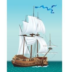 Sailing ship in the sea vector