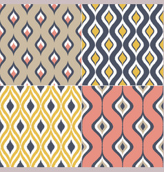 seamless geometric ogee motif textile background vector image