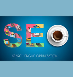 Seo search engine optimization concept with flat vector