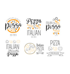 set minimalistic logos for pizzeria vector image