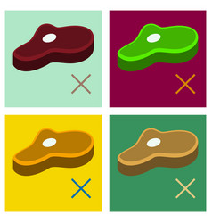 Set of steak flat icon isolated on background vector