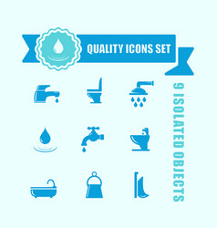 Set of water and bathroom icon with blue tape vector