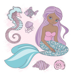sitting mermaid princess sea animal vector image