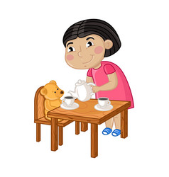 Smiling little girl gaming in tea party vector