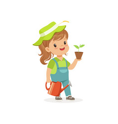 Smiling little girl standing with plant and vector