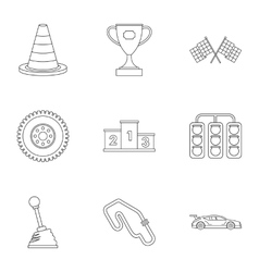 Speed race icons set outline style vector