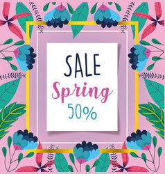 spring sale discount offer message lettering vector image