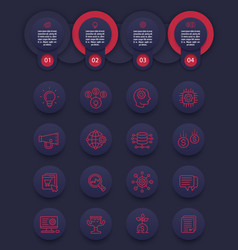 startup business infographics with line icons set vector image