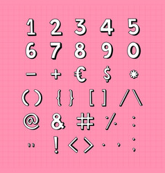 Styled numbers and symbol set vector